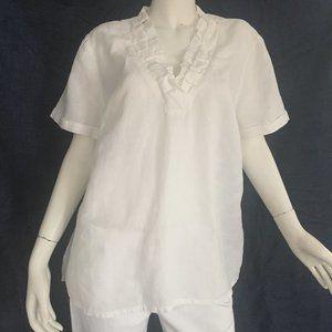 Talbots 1X Irish Linen ruffled v-neck blouse